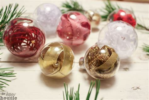 one minute ribbon stuffed diy christmas ornaments trim