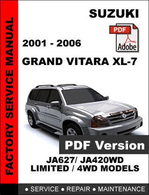 how to download repair manuals 2003 suzuki grand vitara electronic toll collection suzuki grand vitara xl7 2001 2002 2003 2004 2005 2006 oem service repair manual service
