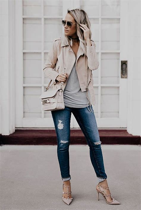 light grey denim jacket 29 best fall leather jacket to pin right now