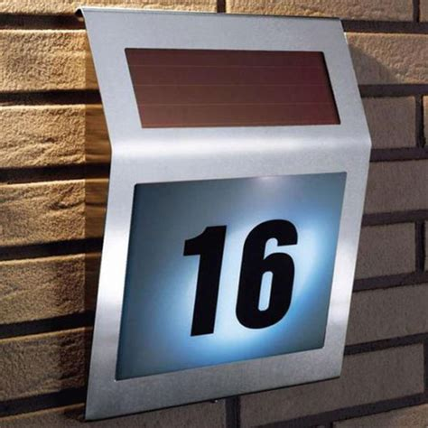 solar house numbers led solar light outdoor l garden stainless solar powered 3led illumination