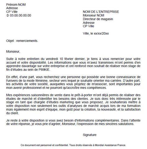 Lettre De Remerciement Fin D Emploi Exemple De Lettre De Remerciement Fin De Stage Covering Letter Exle