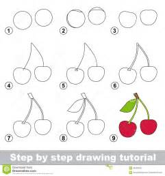 How To Draw Step By Step Drawing Tutorial How To Draw A Cherry Stock Vector