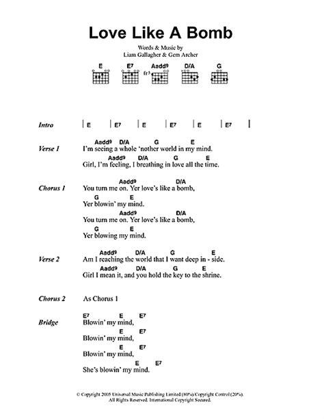 printable lyrics to jingle bombs love like a bomb sheet music by oasis lyrics chords