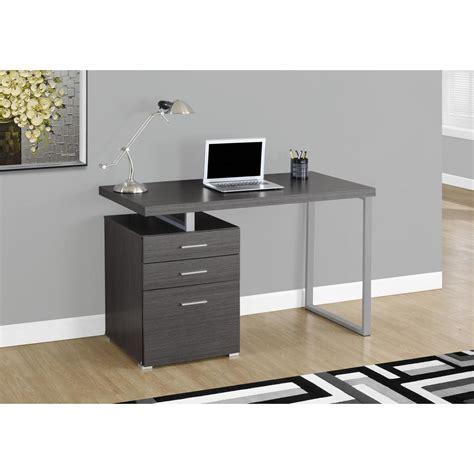 Grey Computer Desk Monarch Specialties Gray Desk With File Cabinet I 7426 The Home Depot