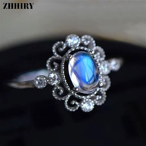natural gemstone rings sterling silver zhhiry genuine natural moonstone ring solid 925 sterling