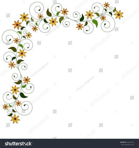 design flower side yellow flower floral side frame background stock vector