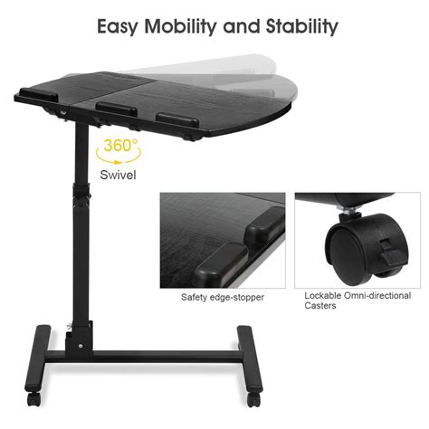 Portable Rolling Mobile Laptop Side Table Cart Adjustable Adjustable Mobile Rolling Laptop Desk