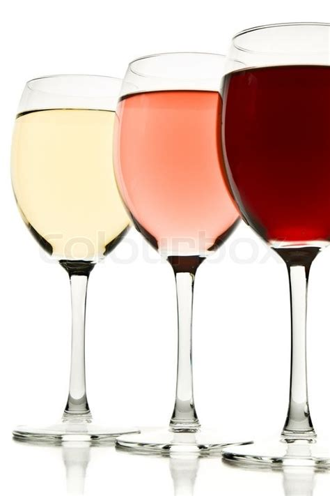 white and red rose wine glass three glasses with white rose and red wine stock photo