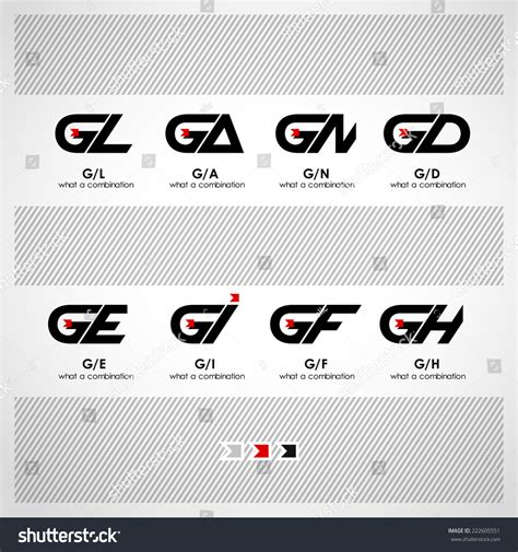 Letter Combinations set of combinations of letters g and l a n d e i f