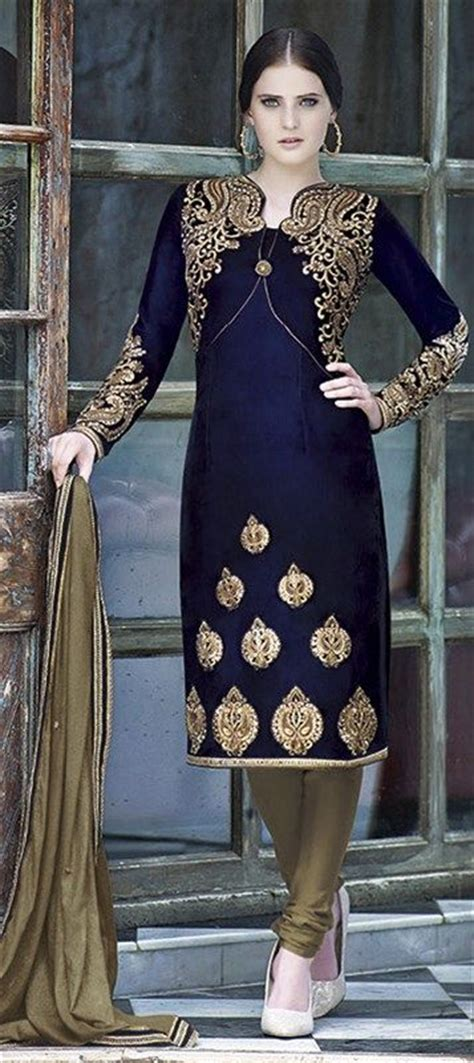 velvet salwar kameez  blue  thread work indian
