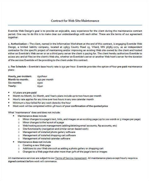 Website Maintenance Contract by 9 Maintenance Contract Template Free Sle Exle Format