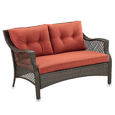 outdoor cushions for wicker loveseat buy wicker deep seating outdoor loveseat with cinnamon