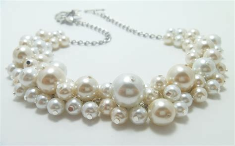 pearls for jewelry ivory and white cluster necklace pearl necklace bridal
