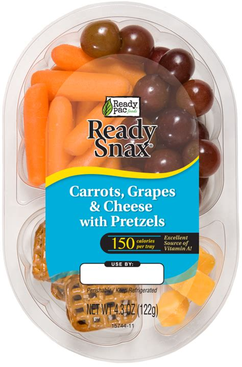 By Baby Totzy carrots grapes cheese with pretzels ready pac