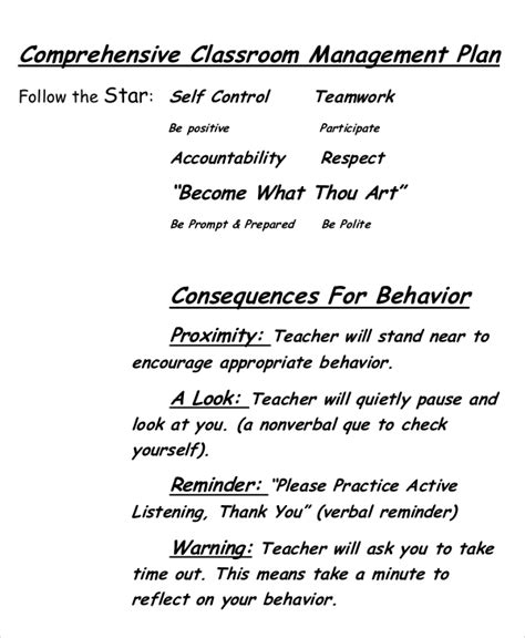 classroom behavior management plan template 10 classroom management plan templates free sle exle format free premium