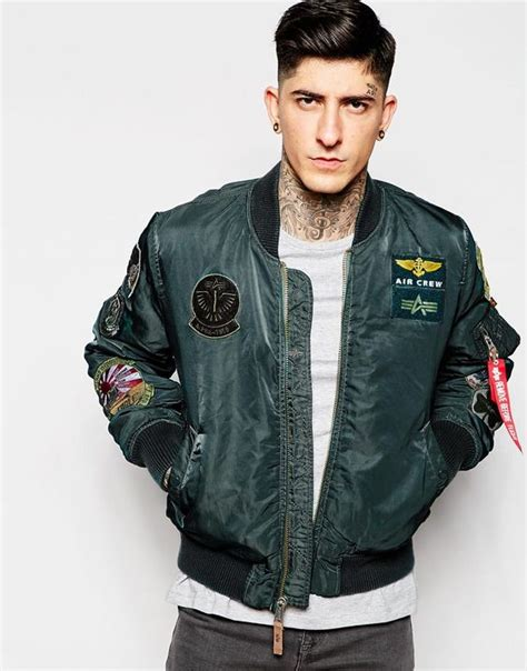 Mens Patch Bomber Alpha Industries Bomber Jacket With Patches Jackets
