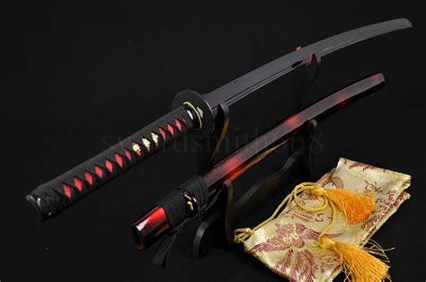 black blade katana sword black steel tang blade handmade japanese samurai