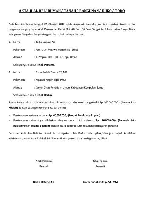 contoh surat akta jual beli tanah rumah ruko bangunan