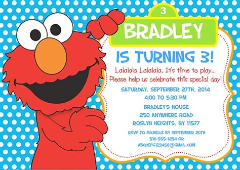 elmo birthday party invitations sesame street kids