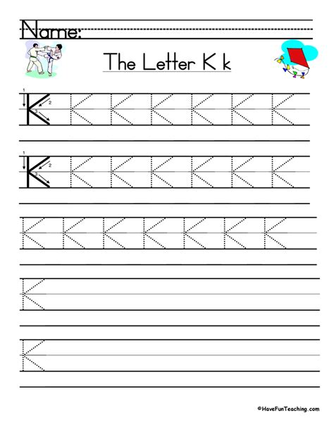 Letter Writing Practice letter k handwriting practice