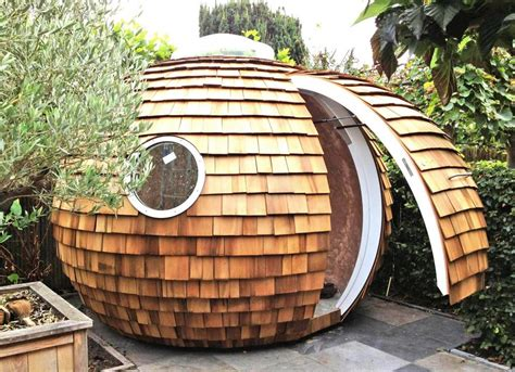 spherical eco friendly pod is the perfect backyard workplace