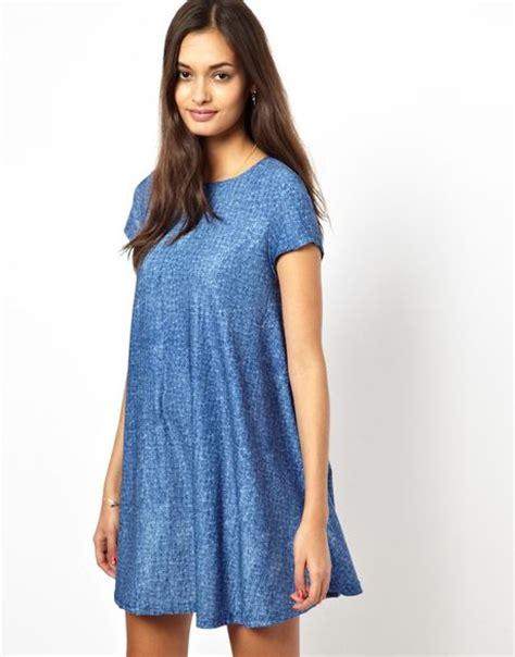denim swing dress glamorous swing dress in denim blue in blue bluedenimwash
