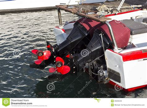 boat engine props two boat engines with red props stock photo image 29205546