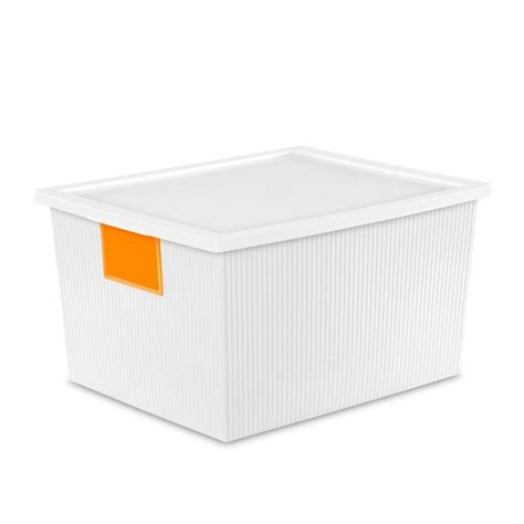 sterilite id box 25 qt storage bin in white 14338006