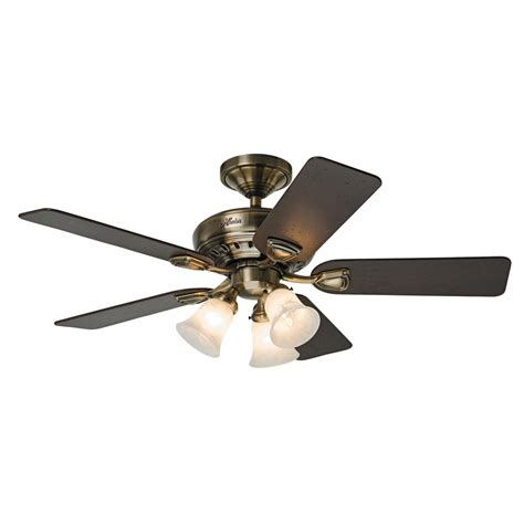 Lowes Fans Ceiling Light Shop Prestige By Bixby 46 In Antique Brass Downrod Or Flush Mount Ceiling Fan With Light