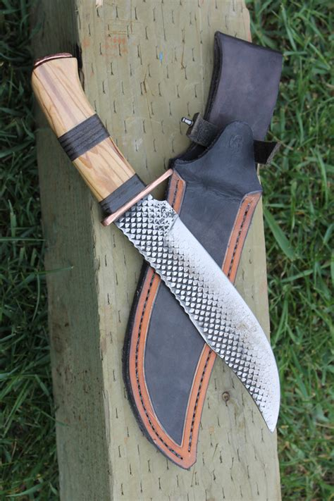 Handmade Knife Sheath - handmade rasp bowie knife with custom leather sheath