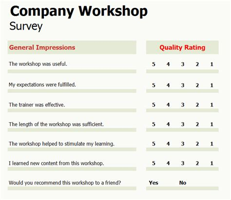 Company Workshop Survey Company Survey Template