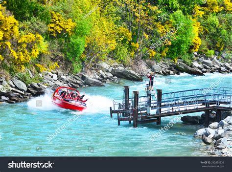speed boat queenstown nz queenstown new zealand november 18 tourists stock photo