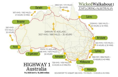 australia touring map how does it take to drive around australia on highway 1