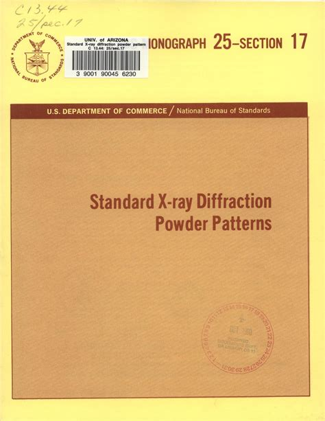 standard x ray diffraction powder patterns from the jcpds research associateship standard x ray diffraction powder patterns section 17