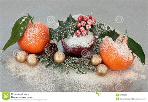 christmas fruit decoration royalty free stock photo