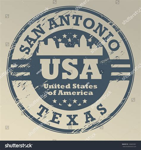 Grunge Rubber St With Name Of San Antonio