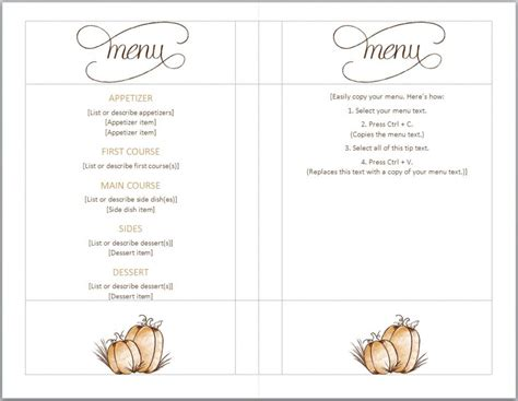 menu template free printable thanksgiving menu template word images