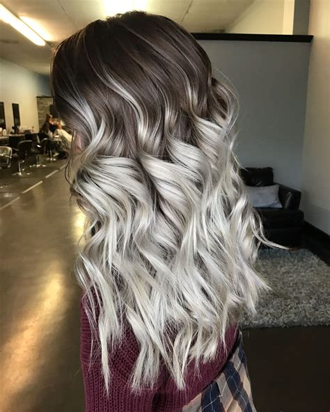 silver blonde root shadow hair ideas pinterest super icey silver ombr 233 balayage with an ashy brown