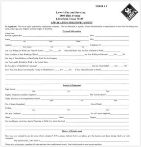 lowe s application employment forms