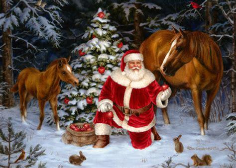 santa   horses christmas card  lpg
