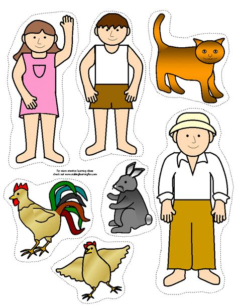 printable animal stick puppets free cut out stick puppets coloring pages