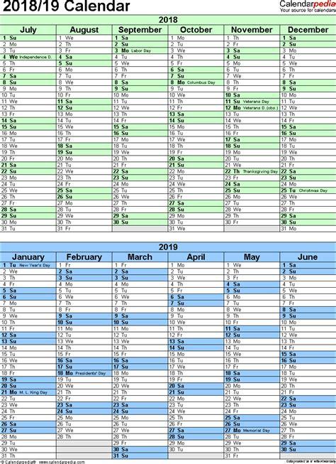 Calendar Template 2018 19 Split Year Calendar 2018 19 Printable Excel Templates