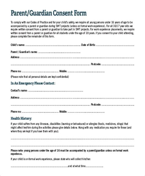 parent permission form template parent consent form sle 9 exles in pdf