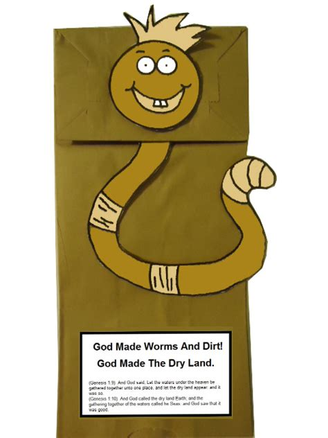 dirt worm paper lunch bag