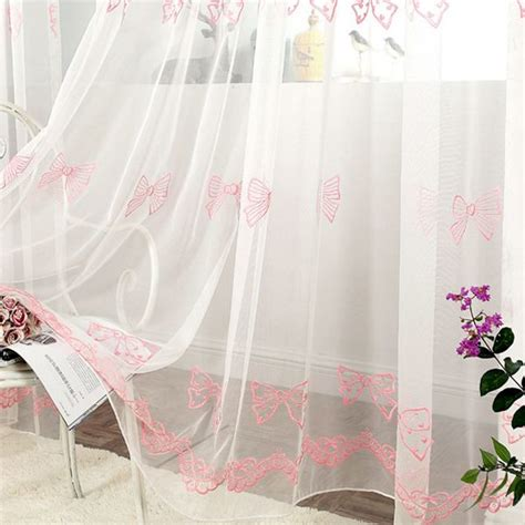 pink tulle curtains aliexpress com buy embroidery bow pink sheer tulle