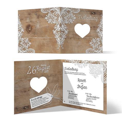 Einladungskarten Spitze Hochzeit by Lasergeschnittene Hochzeit Einladungskarten Rustikal Mit