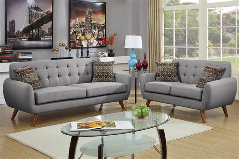 grey sofa and loveseat set grey polyfiber upholstery sofa loveseat set