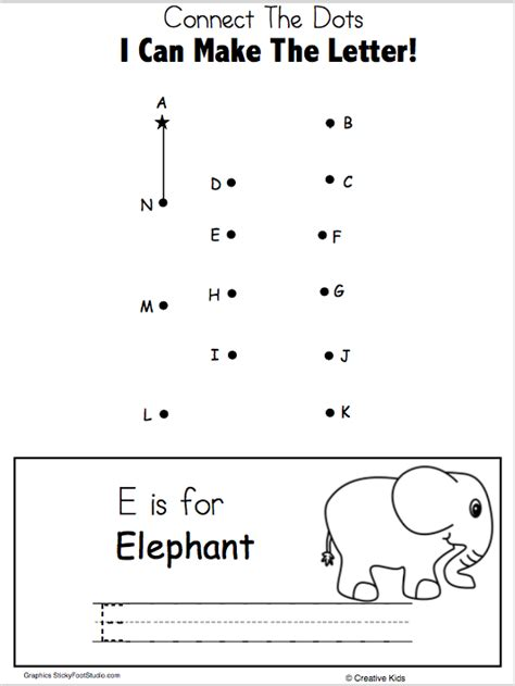 free letter e writing and dot to dot worksheet