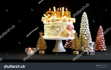 new year cookies 2018 2018 happy new year showstopper cake stock photo 758316205