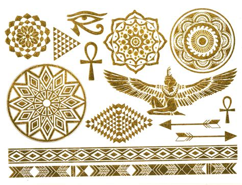 gold pattern tattoo metallic temporary egyptian inspired tattoos gold silver